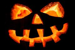 halloween - old jack-o-lantern - stock photo