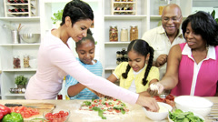 Ethnic Mother Grandparents Young Girls Kitchen Slicing Vegetables Stock Footage