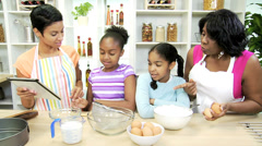 African American Girls Mom Grandma Baking Lesson Stock Footage
