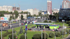 Neste gasoline station in center of Saint-Petersburg city, Russia Stock Footage