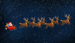 Santa Riding His Sleigh With Reindeers - stock illustration