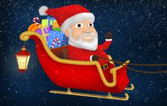 Santa Riding His Sleigh - stock illustration