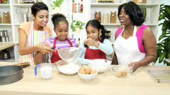 African American Girls Baking Lesson Mom Grandma Kitchen Stock Footage