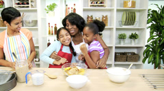 Little Girls Kitchen African American Mother Grandma Stock Footage