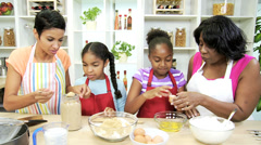 Three Generations Ethnic Females Kitchen Baking - stock footage
