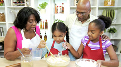 Young Ethnic Girls Making Cakes Kitchen Grandmother Stock Footage