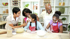 Three Generations Ethnic Family Kitchen Baking Stock Footage