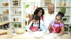 Close Up Little Ethnic Girls Mom Grandparents Kitchen Stock Footage
