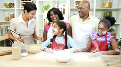 Busy Ethnic Family Kitchen Mom Wireless Tablet Stock Footage