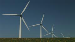 Wind turbines and blue sky - stock footage