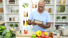 African American Male Checking Cooking Sites Online Stock Footage