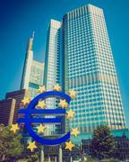 Retro look european central bank in frankfurt Stock Photos