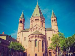 retro look mainz cathedral - stock photo