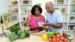 Mature Couple Recipe Wireless Tablet Healthy Living Stock Footage