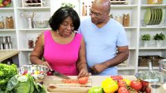 Healthy Ethnic Seniors Home Kitchen - stock footage
