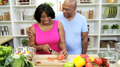 Older African American Couple Domestic Kitchen - stock footage