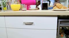 Ethnic Couple Kitchen Counter Breakfast Coffee Stock Footage