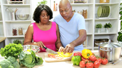 Retired Couple Preparing Healthy Organic Vegetables - stock footage