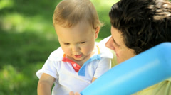 Young Father Playing Cute Little Caucasian Son Park Stock Footage