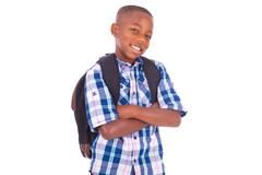 african american school boy - black people - stock photo
