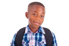 Stock Photo of african american school boy - black people