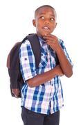 african american school boy looking up - black people - stock photo