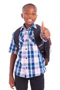 african american school boy making thumbs up - black people - stock photo