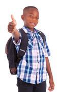 African american school boy making thumbs up - black people Stock Photos