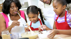 Loving Ethnic Grandma Baking Lesson Young Granddaughters Stock Footage