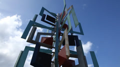 Metal sculpture on the La Puntilla seafront Stock Footage