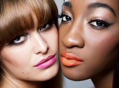 two beauties with perfect skin - stock photo