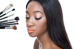 beauty and make up brushes - stock photo