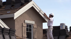 New Home Construction, painting house Stock Footage