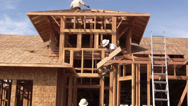 Stock Video Footage of New Home Construction, builders
