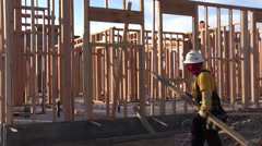New Home Construction, worker Stock Footage