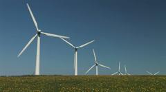 Flowers and wind turbine - stock footage