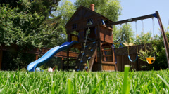 Playhouse in backyard - stock footage