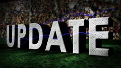 Sports update on 50 yard line football field cutaway transition animated Stock Footage