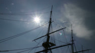 Stock Video Footage of USS Constellation masts against Baltimore sky