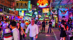 1080 - THAILAND RED LIGHT DISTRICT - Time lapse - Walking street in Pattaya Stock Footage