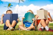 Stock Photo of kids reading books