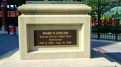 Babe Ruth statue, Baltimore Stock Footage