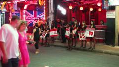 4K - THAILAND RED LIGHT DISTRICT - Walking street in Pattaya Stock Footage