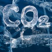 icy chemical formula of carbon dioxide co2 - stock photo