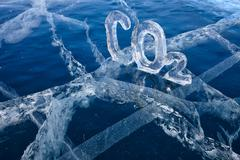 Icy chemical formula of carbon dioxide co2 Stock Photos