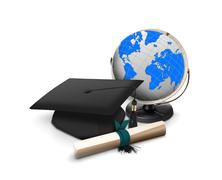 Stock Illustration of graduation hat with scroll and globe