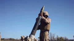 Infantry Mortar - Firing 01 Stock Footage