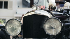 Detail of headlights in a vintage car - stock footage