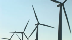Wind turbines in row - stock footage