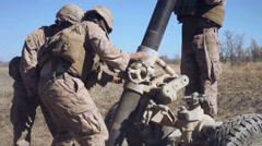 Infantry Mortar - Firing 02 Stock Footage
